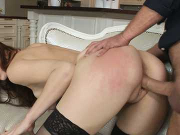 Pretty Russian redhead Irina Pavlova gets nailed from behind